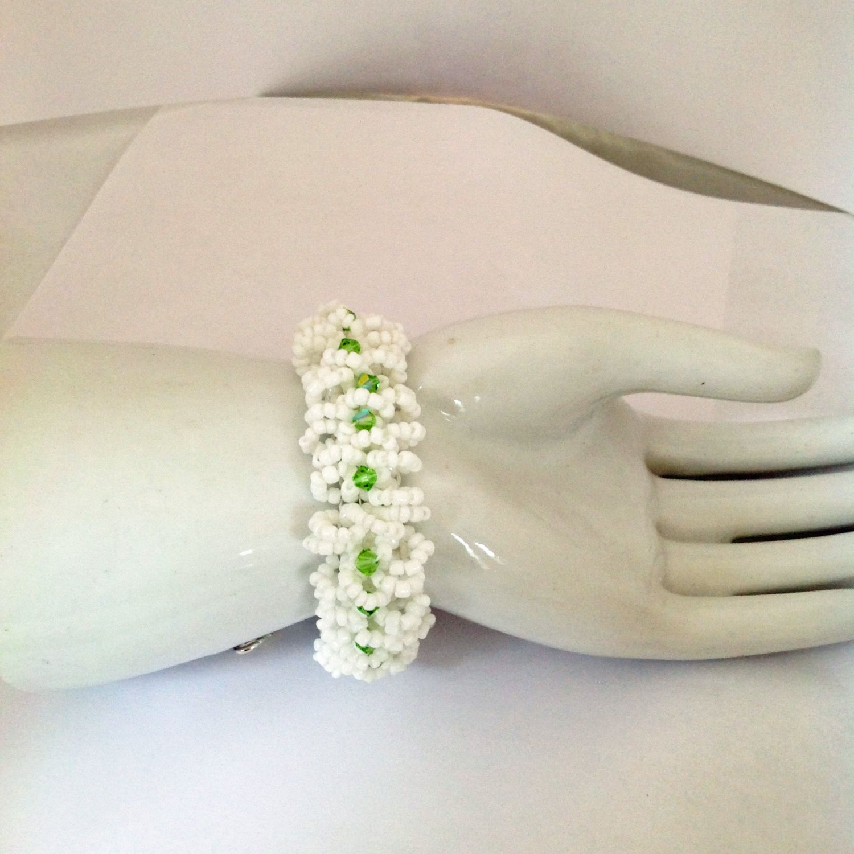 Peridot Swarovski A/B Crystals White Beaded Bracelet 7 to 8 in Long