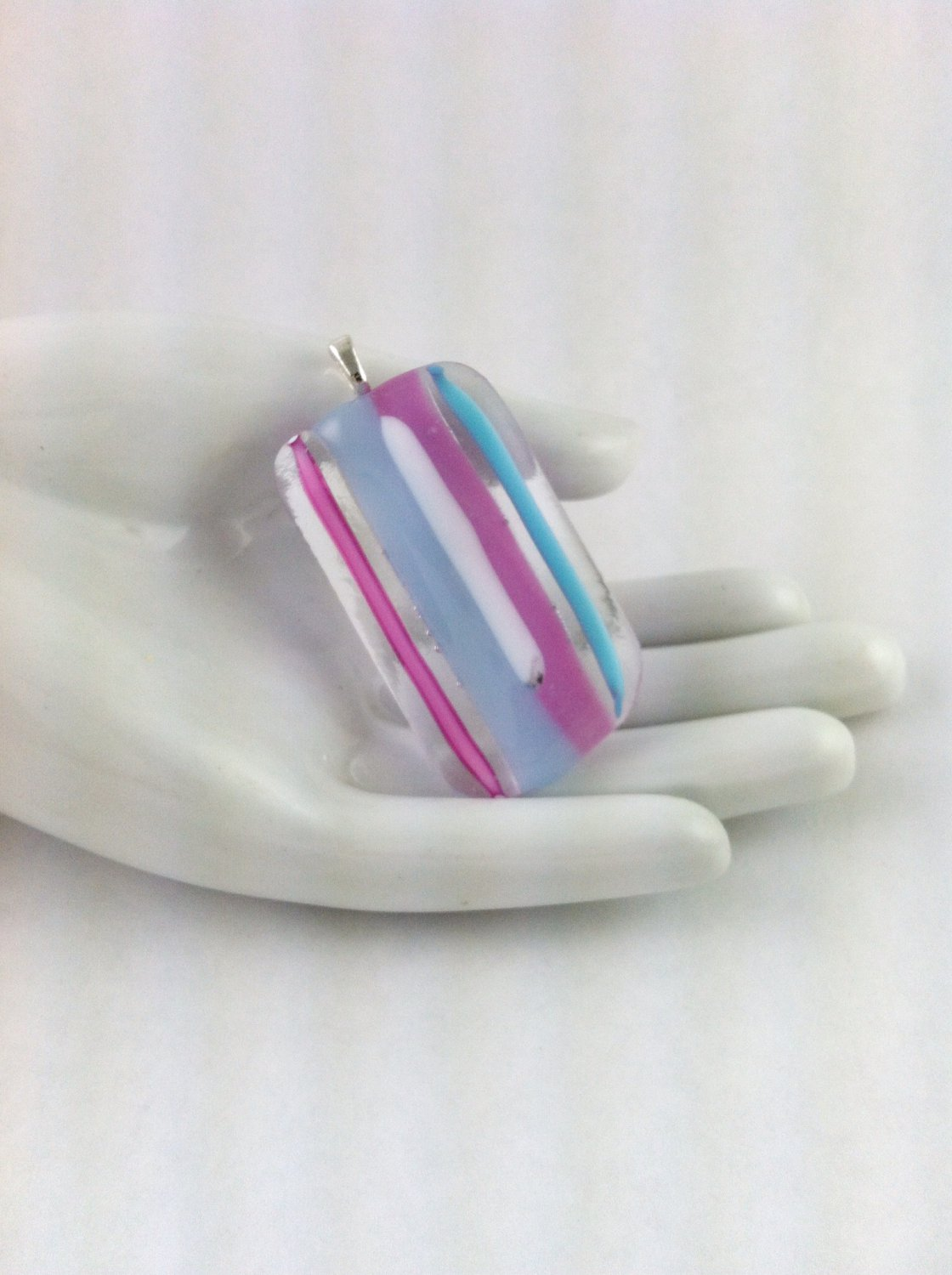 Fused Glass Pastel Colors Pendant on A  Leather Cord Necklace      Hand Crafted Jewelry