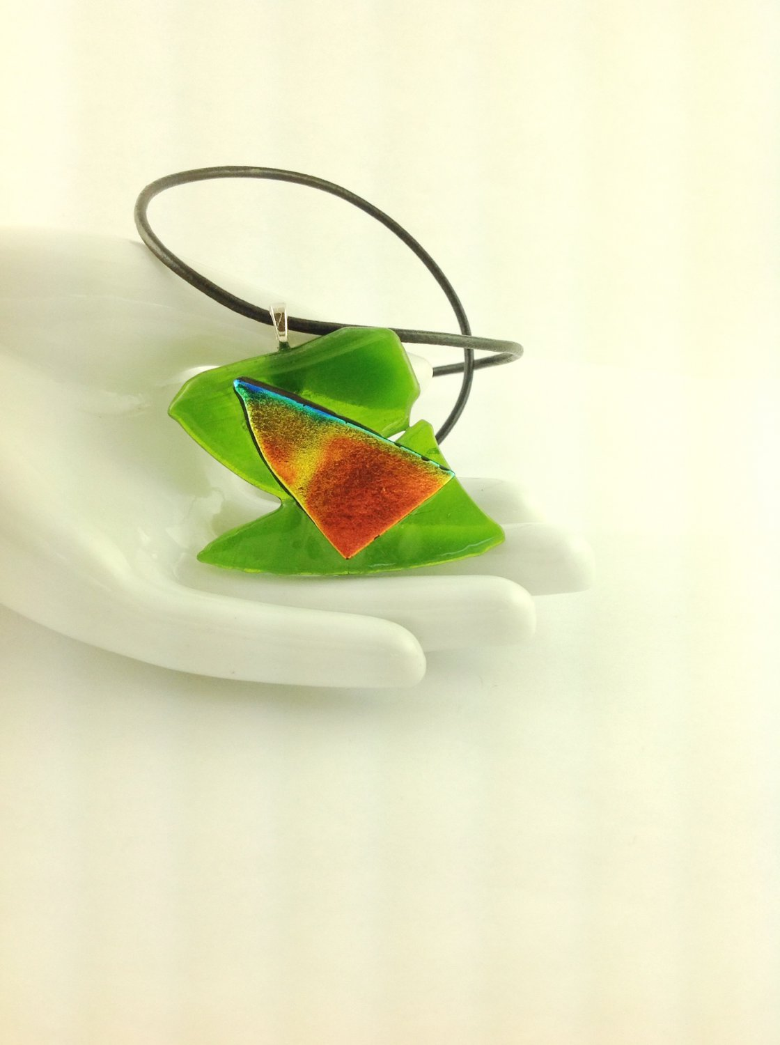 Dichroic Fused Glass Abstract Green,Orange Pendant Leather Cord Necklace      Hand Crafted Jewelry