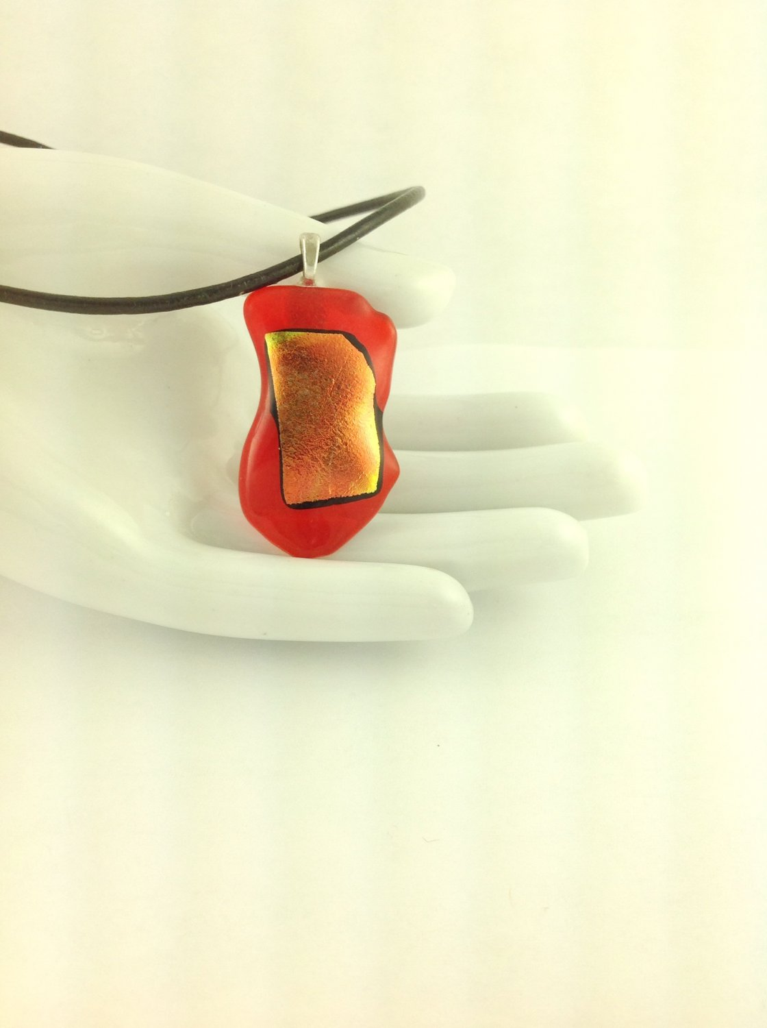 Dichroic Fused Glass Orange and Yellow Abstract Art Pendant on A  Leather Cord Necklace