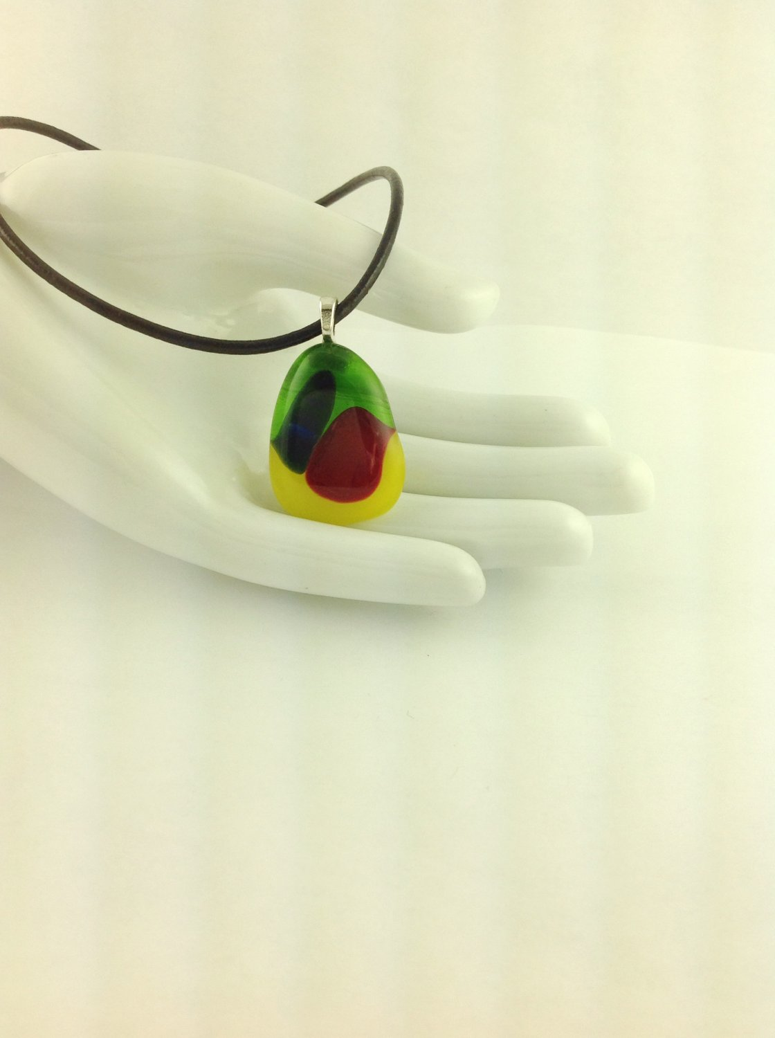 Fused Glass Rainbow Colored Art Pendant on A  Leather Cord Necklace      Hand Crafted Jewelry