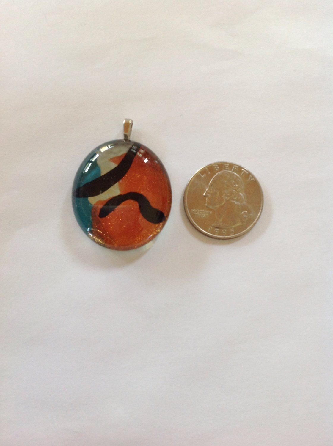 Metallic Copper, Silver, and Blue Hand Painted Glass Cabochon Pendant  Necklace