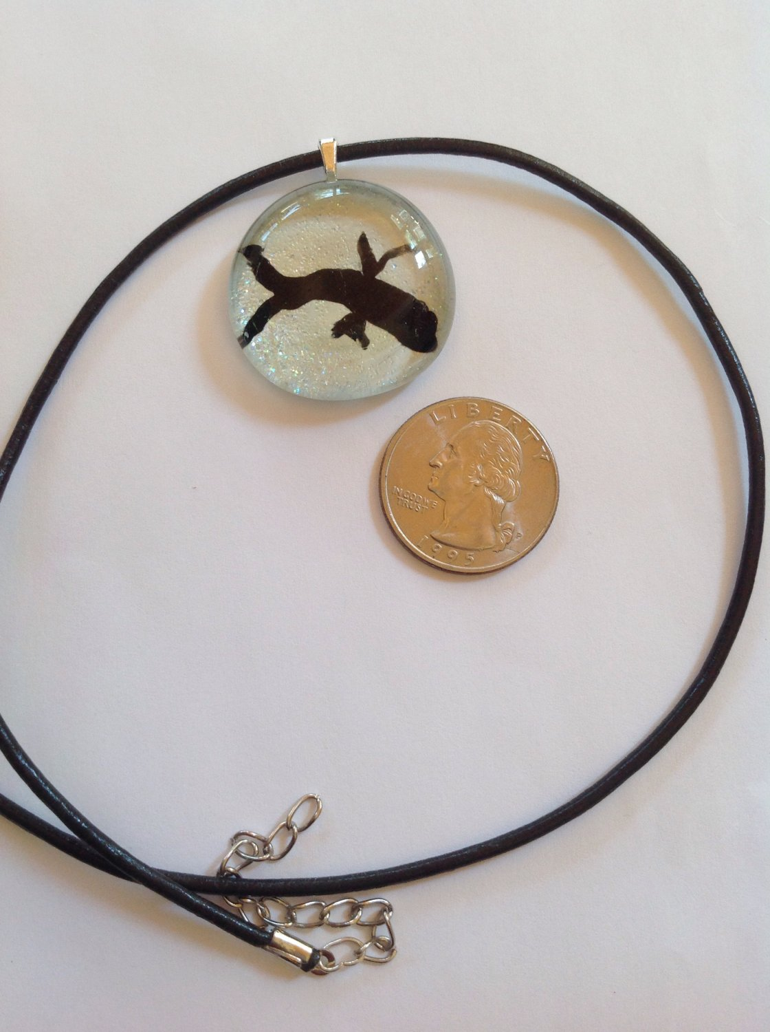 Glass Cabochon Hand Painted Opal Colored with Tiny Sparkles Pendant Necklace  Choker