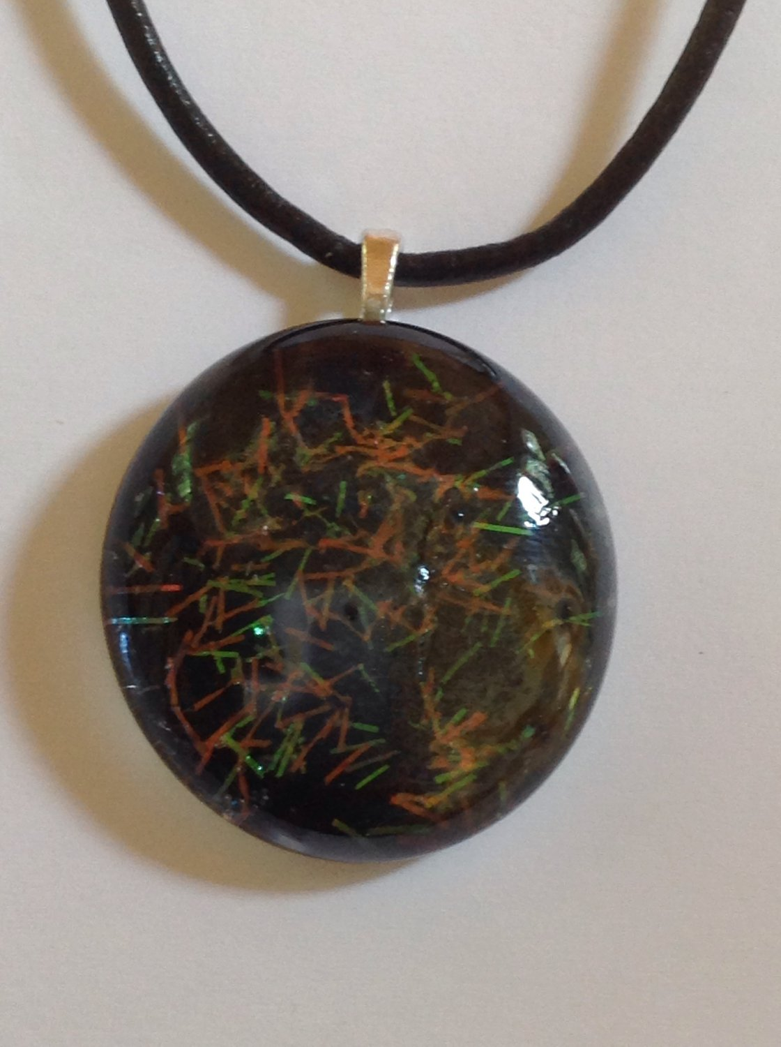 Orange Green and Black Confetti Glass Cabochon Pendant Necklace  Choker    Hand Painted