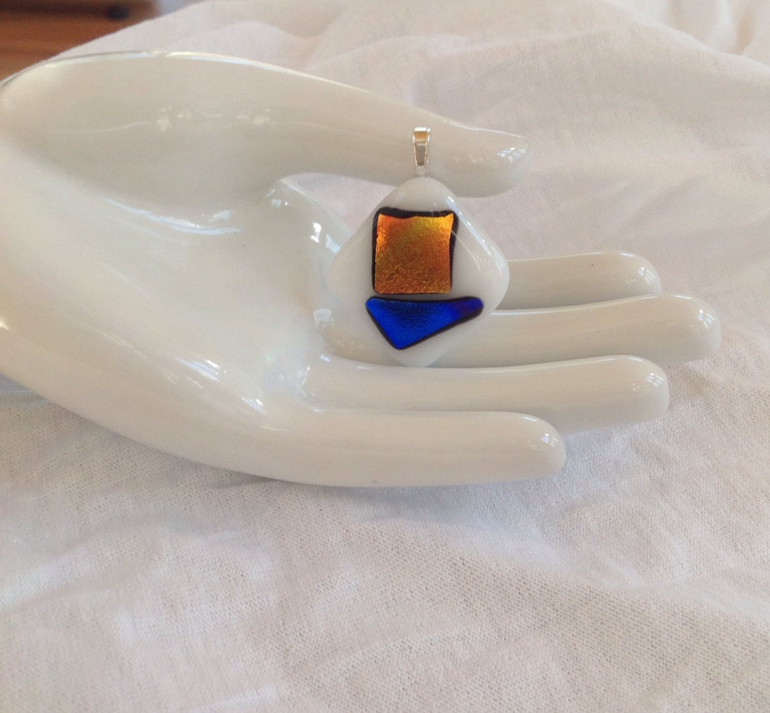 Dichroic Orange Blue Fused Glass  Pendant Leather Cord Necklace      Hand Crafted Jewelry