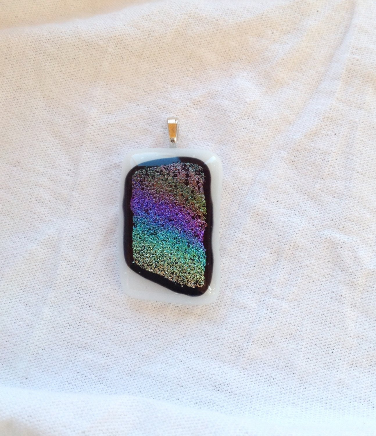 Dichroic Pink Blue and Yellow Fused Glass  Pendant Leather Cord Necklace      Hand Crafted Jewelry