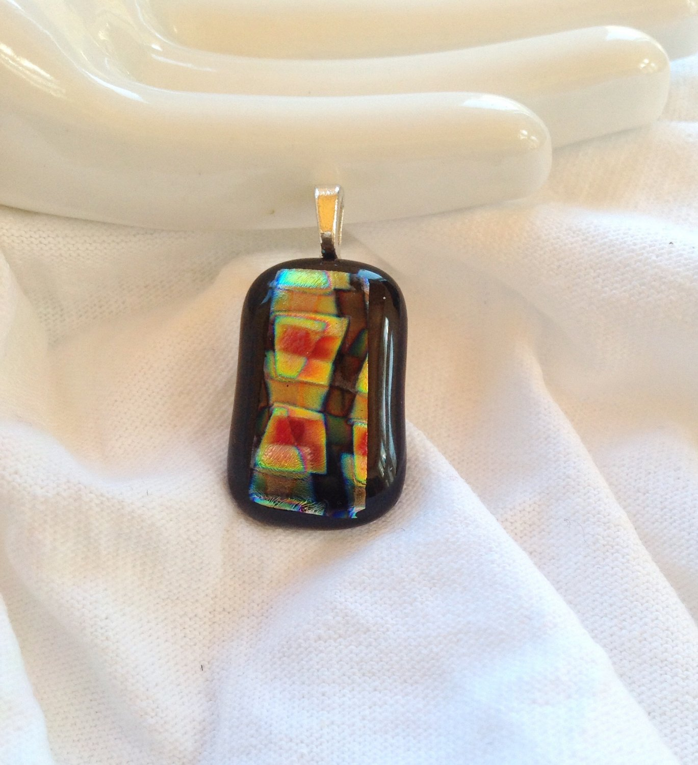 Fused Glass Dichroic Yellow Orange and Green Pendant Leather Cord Necklace      Hand Crafted Jewelry