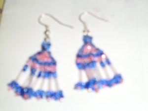 Blue - Pink Dangle earrings