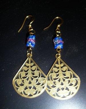 Fancy Golden Fan Earrings
