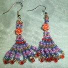 Purple with Oragne Flower Earrings