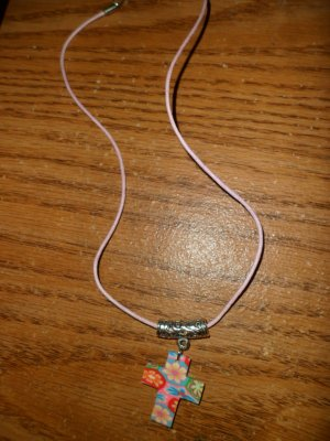Colorful Cross on a Gold Chain Necklace