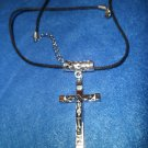 Silver Cross on Wax Cord Necklace