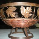 Wicker and Brass Fruit Basket