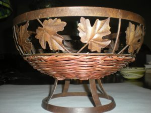 Wicker and Brass Fruit Basket