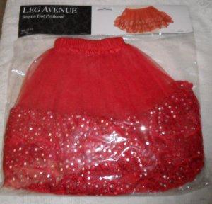 Petticoat Sequin Dot Mini Slip TuTu Red Sparkly Leg Avenue