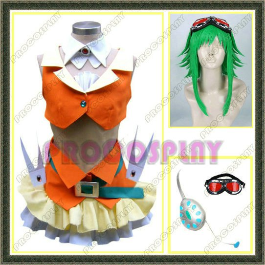 Vocaloid Gumi Cosplay Costume && Wig && Headphone