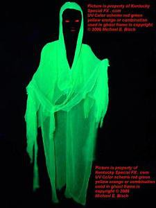 Green Halloween Hanging Ghost Flying Crank Prop Decoration Reactive Glowing