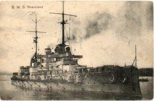 GERMANY WW I SMS Rheinland Picture Postcard: Kriegsmarine Navy Mail 1915