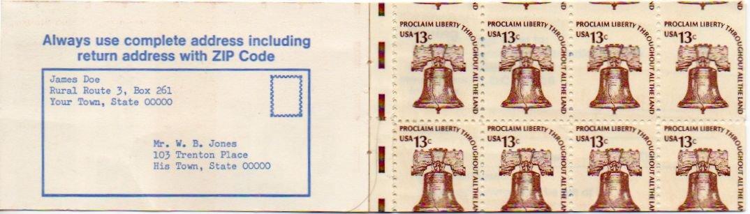 EFO USA Scott #1595 Liberty Bell Booklet Pane of 8, Miscut Error