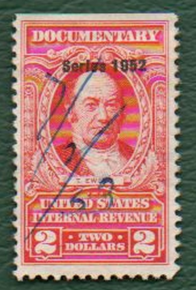 USA Scott #R602 $2.00 Documentary Revenue Stamp 1952 F-VF