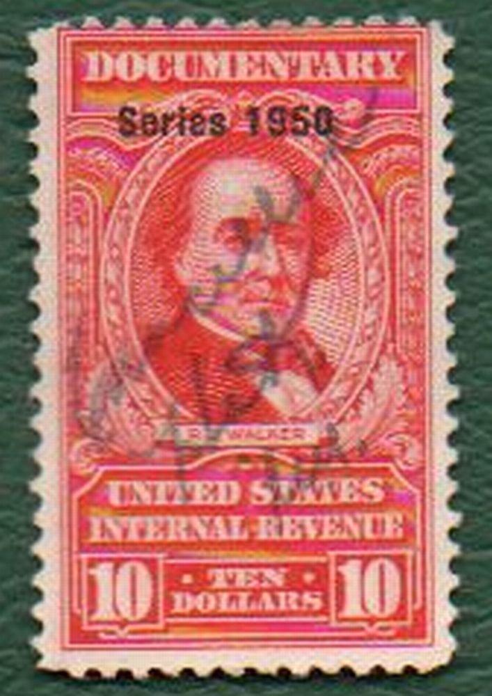 USA Scott #R553 $10.00 Documentary Revenue Stamp 1950 Fine Condition