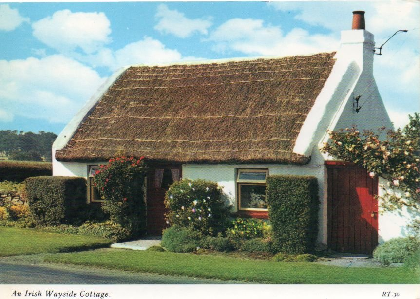 """""""An Irish Wayside Cottage"""" Postcard with 26-p Great Britain Scott #MH130a"""