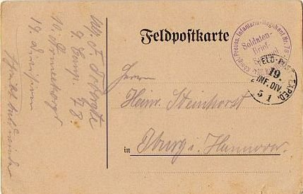 GERMANY Feldpostkarte (Military Mail Postcard) 19th Infantry World War I 1915