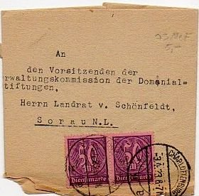 GERMANY Official Mail from Upper President of Brandenburg and Berlin, Scott #O20 1923