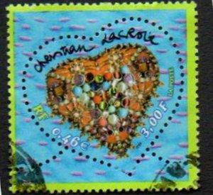 France Scott #2797 3,00fr/0,46E Christian Lacroix Valentine's Day Heart Design Issued 2001