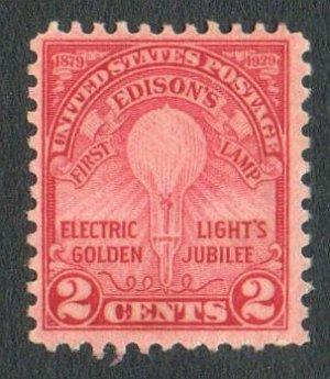 United States Scott # 655 2-c Electric Light's Golden Jubilee Mint NG 1929