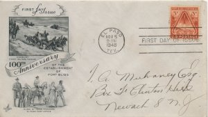 United States Scott #976 3-c Fort Bliss Art Craft First Day Cover 1948 El Paso, Texas