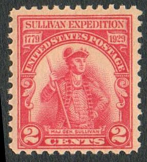US Scott #657 Carmine-Rose 2-c Major General Sullivan Expedition 1929 MNH Fine