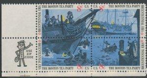 United States Scott #1480-1483 Boston Tea Party Se-Tenant ZIP Block  1973 MNH