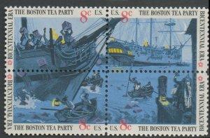 United States Scott #1480-1483 Boston Tea Party Se-Tenant Block of Four 1973 MNH