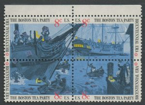 United States Scott #1480-1483 Boston Tea Party Se-Tenant  Block of Four Selvage on Top 1973 MNH