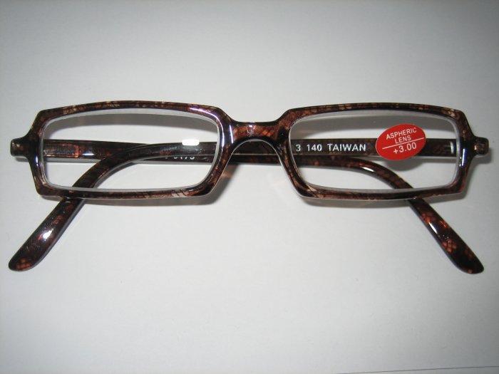 High Quality Reading Glasses 8110-6175 Brown+Tran +3.00