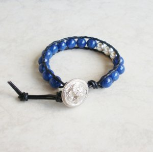 Lapis and Silver Beaded Leather Wrap Bracelet