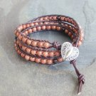 Gold Stone Beaded Leather Wrap Bracelet with Heart