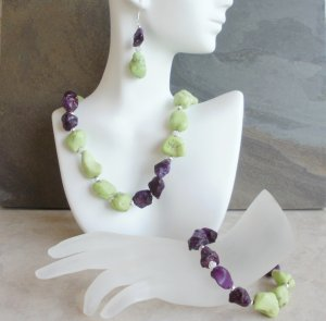 Kelly - Chunky Turquoise Green And Purple Set