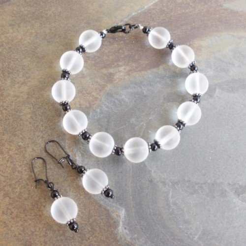 Many Moons White Frosted Beach Glass Bracelet and Earring Set