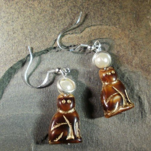 Holy Cat! Brown Saint Tabby Cat Earrings - We Do No Wrong!