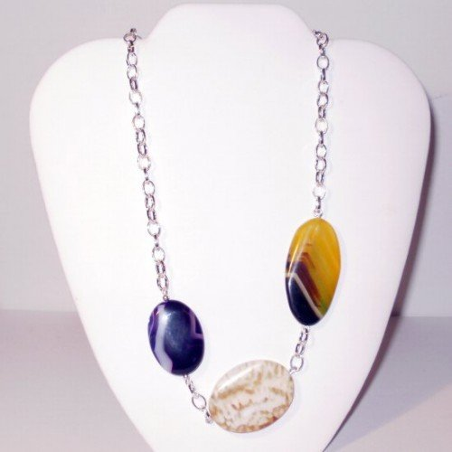 Uta - Asymetric Multi Color Agate Necklace
