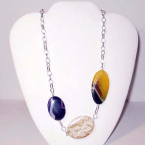 Uta - Asymetric Multi Color Agate Necklace