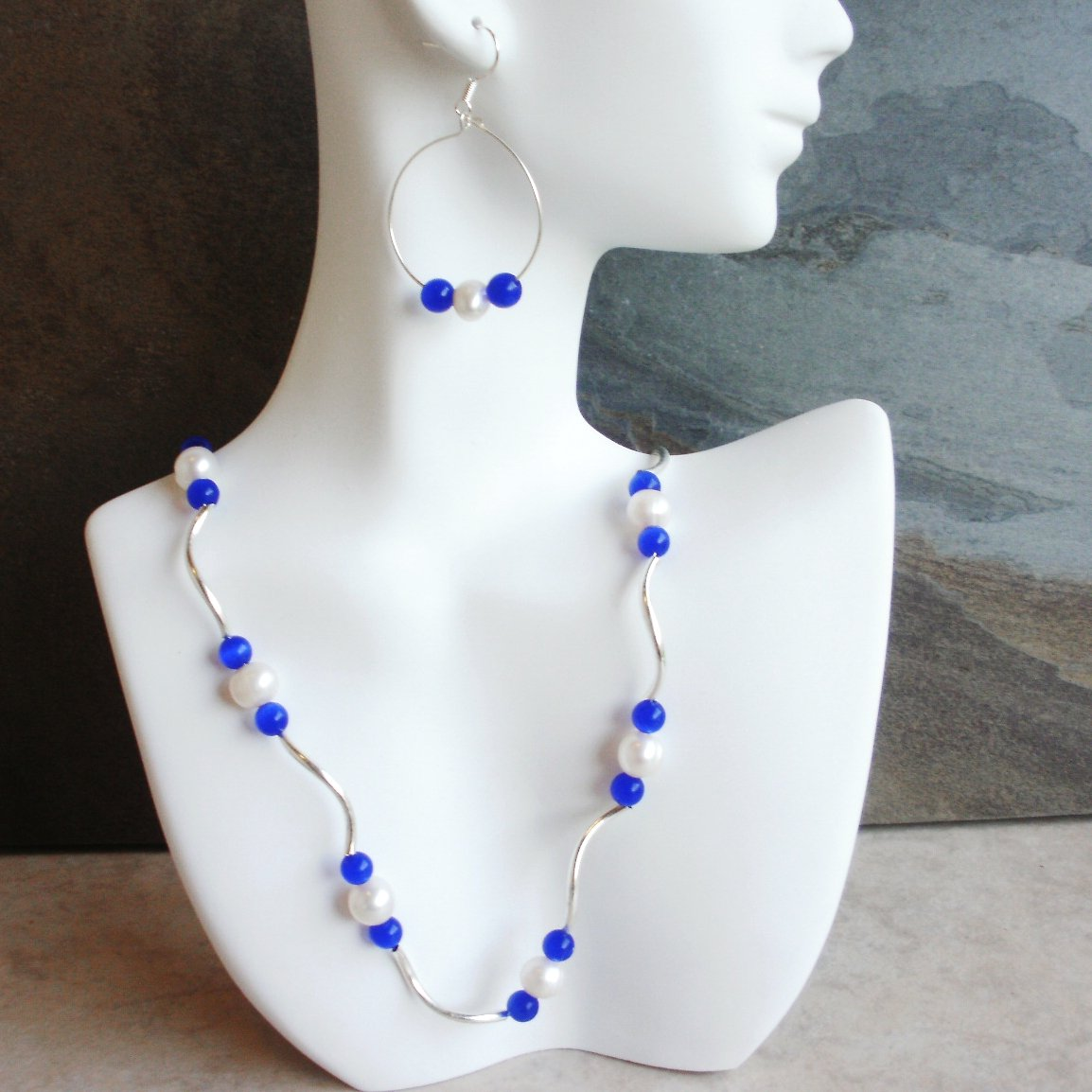 Diane - Cobalt Fiberoptic Blue Cats Eye And Freshwater Pearl Necklace Set