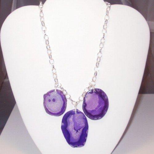 Anna - Purple Slab Agate Triple Crown Necklace