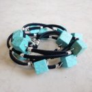 Turquoise Cube Silver Wired Beaded Leather Wrap Bracelet - Reserved