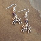 Silver Spider with Swarovski Crystal Earrings