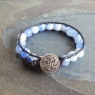 Faceted Blue Agate Beaded Leather Wrap Bracelet