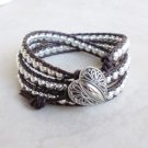 Silver Beaded Leather Wrap Bracelet with Heart - RESERVED