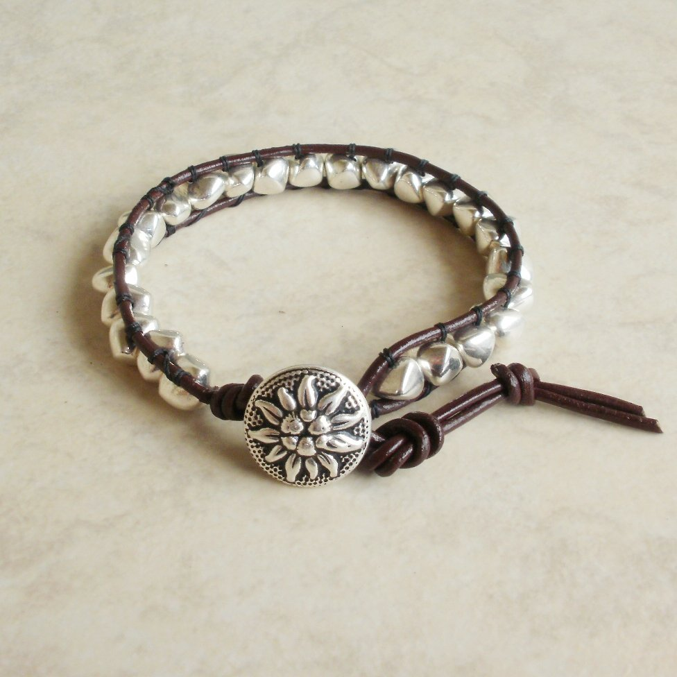 Shiny Silver Nugget Beaded Leather Wrap Bracelet
